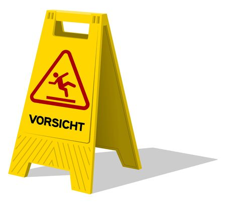 Vorsicht two panel plastic yellow sign with handle labeled vorsicht as warning with stick figure slipping