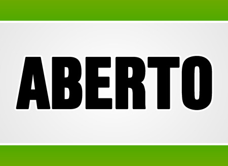 commercial sign: Close up sign in black letters over white with two green stripes for open or access as aberto in Portuguese