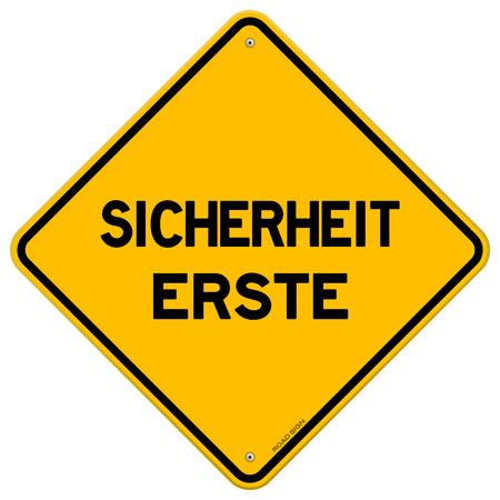 diamond shaped: Isolated single yellow diamond shaped sicherheit erste safety hazard sign over white background