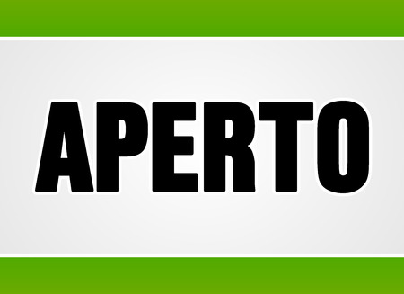 Close up sign in black letters over white with two green stripes for open or access as aperto in Italian Ilustração