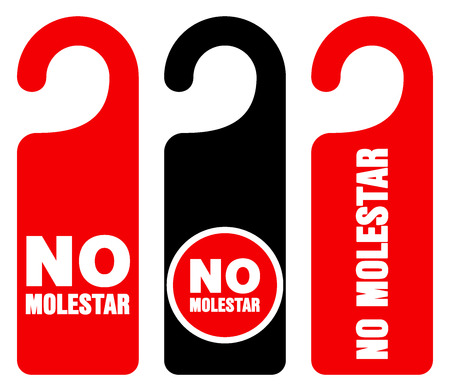 Set of three red, black and white door hang tag signs with do not disturb text as no molestar Ilustração
