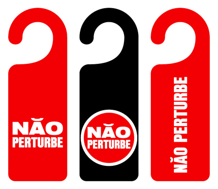 Set of three red, black and white door hang tag signs with do not disturb text as nao perturbe