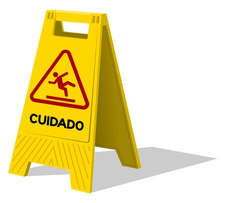 slick: Upright two panel plastic yellow sign with handle labeled in Spanish cuidado as warning with stick figure slipping