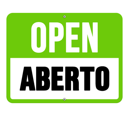 translated: Single sign in black letters over green and white text as open translated from aberto in Portuguese
