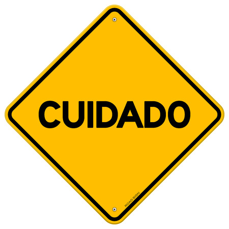 Diamond shaped symbol of bright yellow and black em cuidado sign with over white background