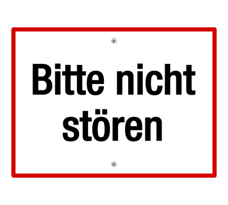 German do not disturb sign in white with black text and red line reading bitte nicht Root
