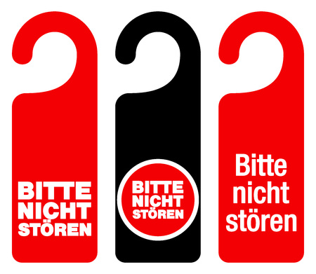 Set of three red, black and white door hang tag signs with do not disturb text as bitte nicht storen Ilustração