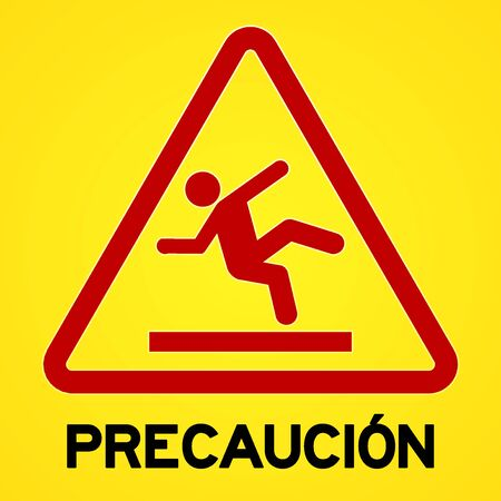 Square symbol of bright yellow and red precaucion sign with triangular icon of person slipping