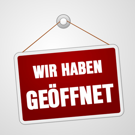 hanging dangling: Red rectangular wir haben geoffnet open sign hanging on string and pin over white background