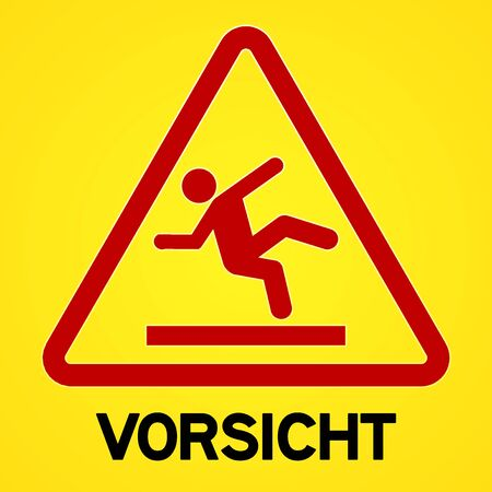 Square symbol of bright yellow and red vorsicht sign with triangular icon of person slipping