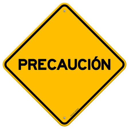 diamond shaped: Isolated yellow diamond shaped precaucion safety hazard sign over white background