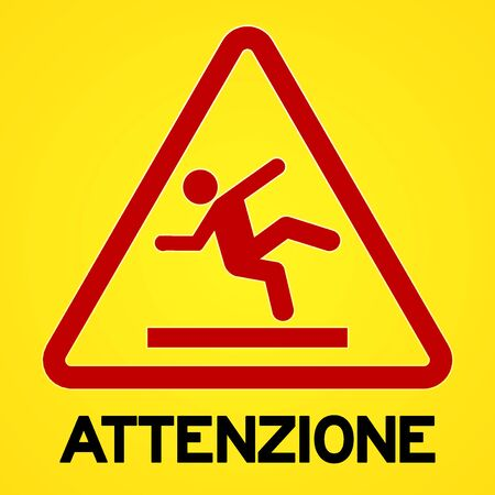Square symbol of bright yellow and red attenzione sign with triangular icon of person slipping Ilustração