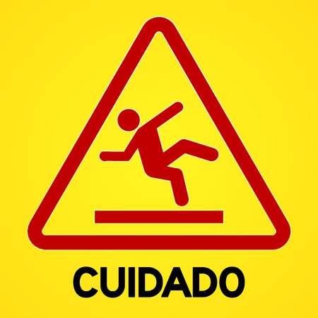 cautious: Square symbol of bright yellow and red cuidado sign with triangular icon of person slipping
