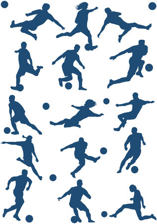 tackling: 15 Silhouettes of Soccer (football) player.