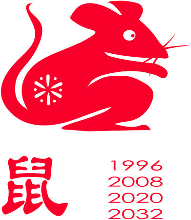 chinese astrology: Chinese Zodiac of mouse Year. 2008 is and 2020, 2032 will be Mouse year.  Illustration