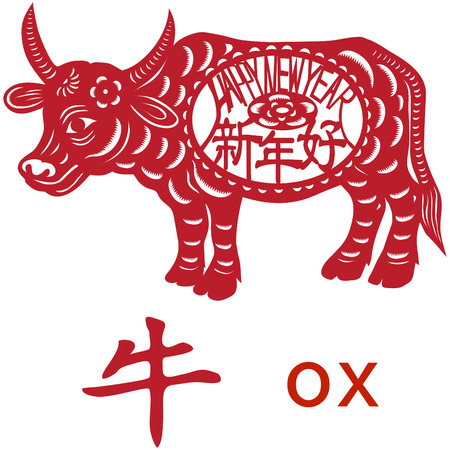 paper cutting: Chinese Zodiac of Ox Year. 2009 will be Ox year. Three Chinese characters on the oxs body mean happy new year, it sounds like SHEEN NANE HOW in Chinese, and ox is pronounced NEW in Chinese.