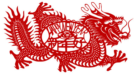 Chinese Zodiac of Dragon Year. Three Chinese characters on the dragons body mean happy new year, it sounds like SHEEN NANE HOW in Chinese, and dragon is pronounced LOONG in Chinese.