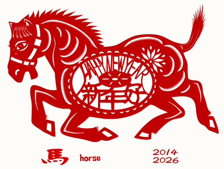 year profile: Chinese Zodiac of Horse Year. Three Chinese characters on the horses body mean happy new year, it sounds like SHEEN NANE HOW in Chinese, and horse is pronounced MA in Chinese. Illustration