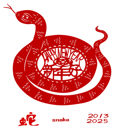 chinese astrology: Chinese Zodiac of Snake Year. Three Chinese characters on the snakes body mean happy new year, it sounds like SHEEN NANE HOW in Chinese, and snake is pronounced SOA in Chinese.