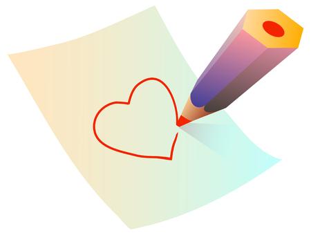 unfinished: dibujo de un coraz�n en papel  Vectores