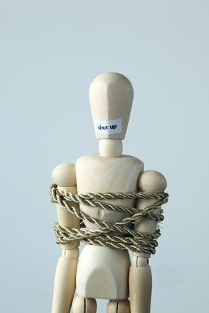 seizing: Shut up. Bind a wooden model with rope.