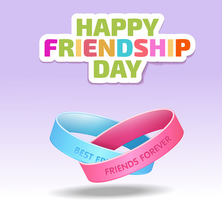 Friendship bands with text best friends forever and hand drawn doodle scetch background. Happy friendship day