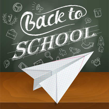 mechanical back: Back to school, paper plane, leaf notebook into a cell, mechanical drawing, Illustration