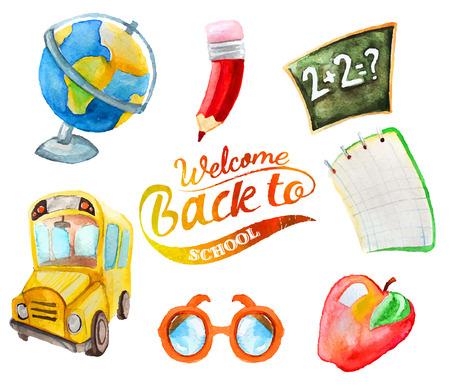 scuola: Acquerello hand drawn set di articoli per la scuola. Bentornati a scuola. Globe, scuolabus, mela, occhiali, matita, taccuino, consiglio d'istituto, lavagna, matematica.