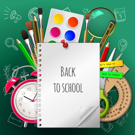 Torna a scuola poster, materiale scolastico colorato: quaderno, vernice, acquerello, pennello, matita, righello, sveglia, forbici sullo sfondo verde. Illustrazione vettoriale