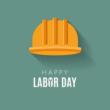Happy Labor day Greetings Cards design Poster, banner, brochure, flyer. Flat style construction helmet with long shadow.  Web banner or poster for e-commerce. Vector illustration. EPS 10