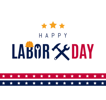 Happy Labor day Greetings Cards design Poster, banner, brochure, flyer. Wrench and hammer icon with star strip and lettering. Flat design. Vector illustration. EPS 10