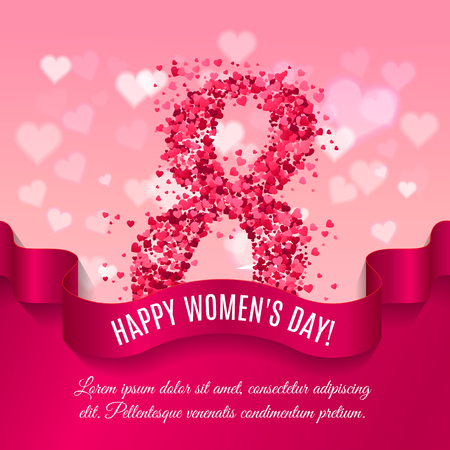 Women day background with silk ribbon and 8 match made of pink paper hearts. Greeting card for women or mother s day. Vector illustration Vettoriali