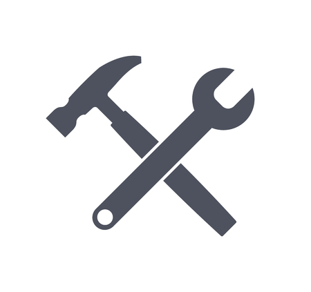 Crossed wrench and hammer vector icon. Stock Photo