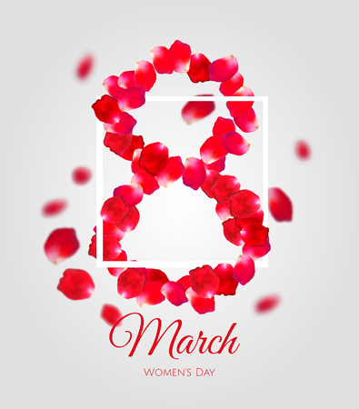 Greeting card with red rose petals and white squere stroke. 8 march - woman's day