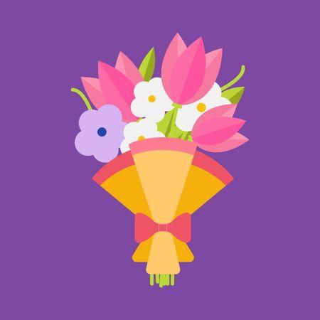 wedding bouquet: Wedding bouquet flowers vector illustration. Wedding bouquet flowers. Beautiful wedding congratulation bouquet isolated on background. Wedding bouquet flat style. Wedding flowers isolated vector Stock Photo