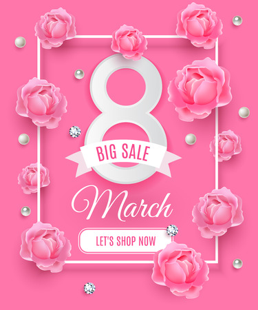 the day off: Happy Womens day big sale background, poster template. Pink abstract background with roses diamond and pearl ornaments. March 8 shop offer tag ads. Vector illustration.