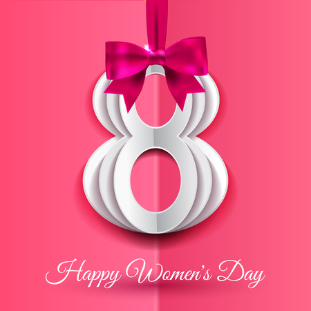 8 March, International Womens Day background with silk ribbon and bow, paper number 8 with shadow.  Greeting card for women or mothers day. Vector illustration