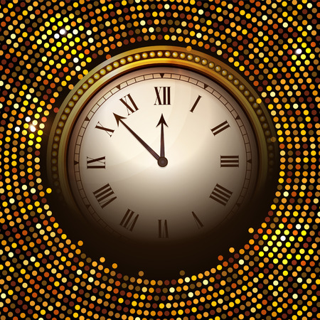 Vector shiny New Year Clock background in disco style. Vector illustration