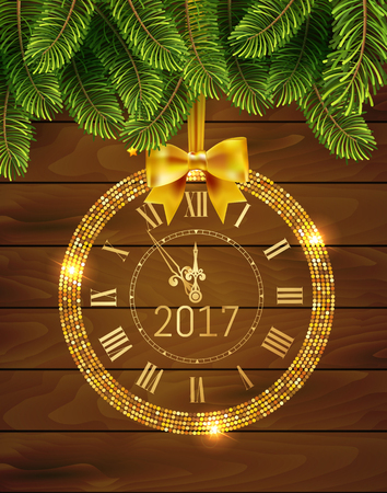 Vector 2017 shiny New Year Clock in gold disco circle frame on christmas wood background with fir tree . Vintage elegant luxury gold clock midnight New Year. Vector illustration EPS 10