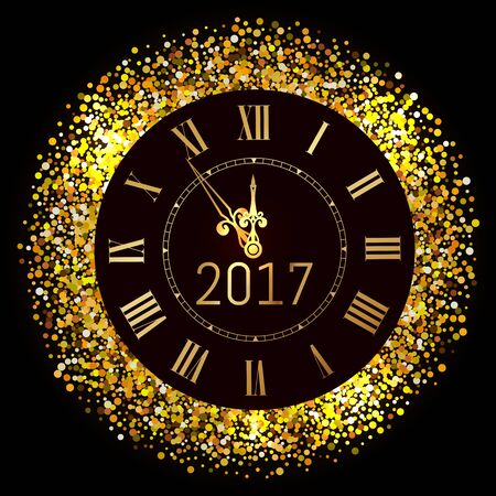 Vector 2017 shiny Merry Christmas and Happy new year 2017 gold clock with glitter frame. Vintage elegant luxury gold watch midnight New Year. Vector illustration EPS 10