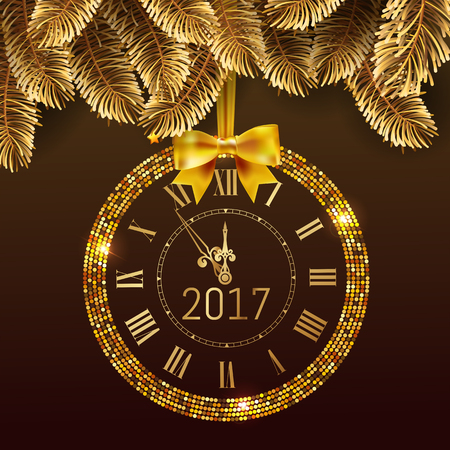 gold christmas background: Gold glitter disco Vector 2017 Happy New Year background with gold clock and christmas tree border . Golden Greeting Card with glitter gold 2017 clock and box. Luxury greeting card. Vector Stock Photo