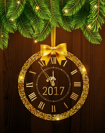 Vector 2017 shiny New Year Clock in gold disco circle frame on christmas wood background with fir tree . Vintage elegant luxury gold clock midnight New Year. Vector illustration