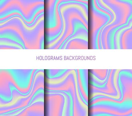 substrate: Set of 6 realistic holographic backgrounds in different colors for design. Hologram to create trendy modern design. Backgrounds for design cards, filling silhouettes, pattern design to printing.