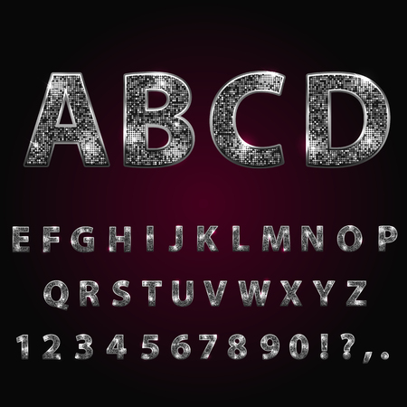 Silver metallic shiny alphabet. Sparkle, glitter, rhinestone alphabet letters numbers and signs currency