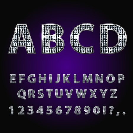 diamond letters: Vector jewelry diamond alphabet. Silver sparkle, rhinestone alphabet letters numbers and signs currency