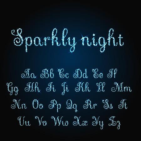 christma: Vector shining luxury beautiful calligraphic blue alphabet font set of glittering sparkles. Vector illustration. EPS 10 Illustration