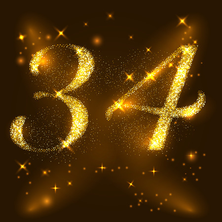 Alphabets Number 3 and 4 of gold glittering stars. Illustration vector