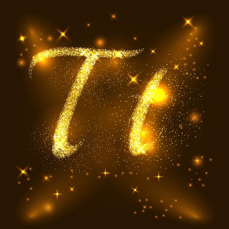 Alphabets T d'étoiles scintillantes d'or. Vecteur de l'illustration