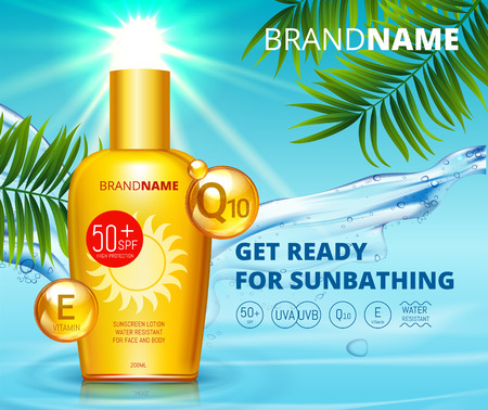 Sunblock ads template, sun protection, sunscreen and sunbath cosmetic products design face and body lotion with Coenzym Q10 and vitamin E on palm beach summer background. SPF and UV protect. Illustration