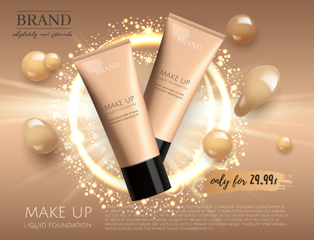 Modern VIP cosmetic ads, make up liquid foundation for sale. Elegant beige and gold color face cream tube with drops of cream isolated on glitter sparkle background , gloss effect. 3D realistic vector